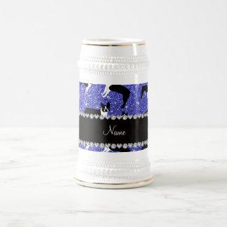 Custom name neon blue glitter boston terrier coffee mugs