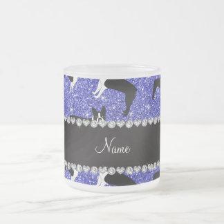 Custom name neon blue glitter boston terrier 10 oz frosted glass coffee mug