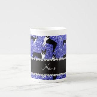 Custom name neon blue glitter boston terrier tea cup