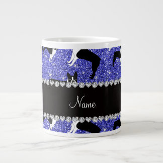 Custom name neon blue glitter boston terrier 20 oz large ceramic coffee mug