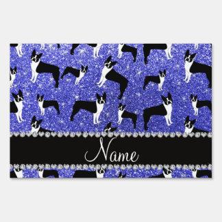 Custom name neon blue glitter boston terrier yard signs