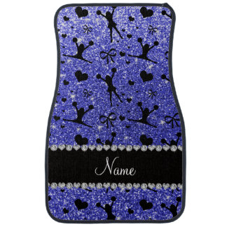 Custom name neon blue glitter cheerleading car mat
