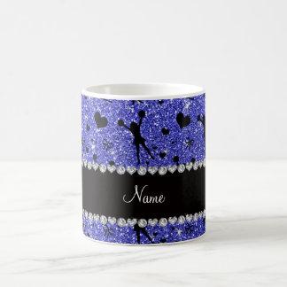 Custom name neon blue glitter cheerleading coffee mug