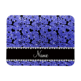 Custom name neon blue glitter cheerleading rectangular photo magnet