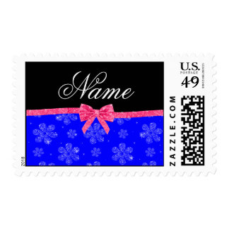 Custom name neon blue glitter flowers pink bow postage stamps