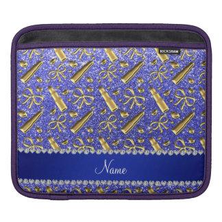 Custom name neon blue glitter gold lipstick iPad sleeve