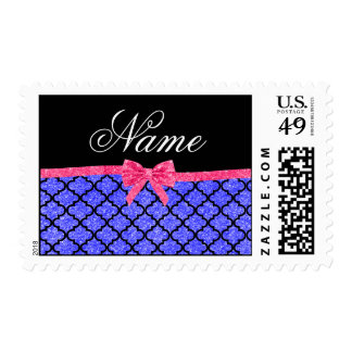 Custom name neon blue glitter moroccan pink bow postage stamp