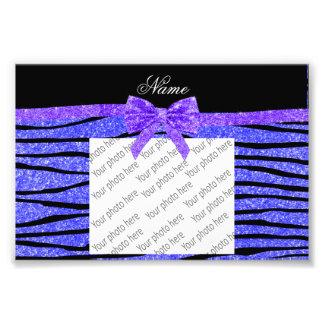 Custom name neon blue glitter zebra stripes bow photographic print