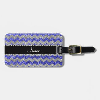 Custom name neon blue silver glitter chevrons bag tag
