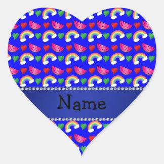 Custom name neon blue watermelons rainbows hearts heart sticker