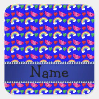 Custom name neon blue watermelons rainbows hearts stickers
