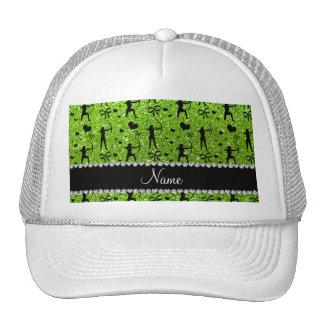 Custom name neon green glitter archery trucker hat