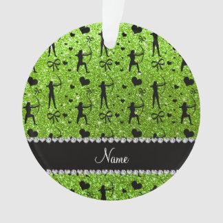 Custom name neon green glitter archery ornament