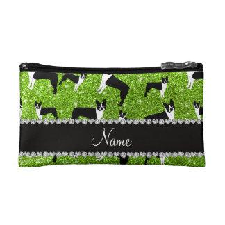 Custom name neon green glitter boston terrier cosmetics bags