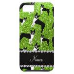 Custom name neon green glitter boston terrier iPhone 5 cover