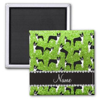 Custom name neon green glitter boston terrier magnet