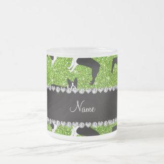Custom name neon green glitter boston terrier 10 oz frosted glass coffee mug