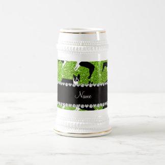 Custom name neon green glitter boston terrier mug