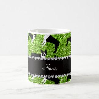 Custom name neon green glitter boston terrier classic white coffee mug