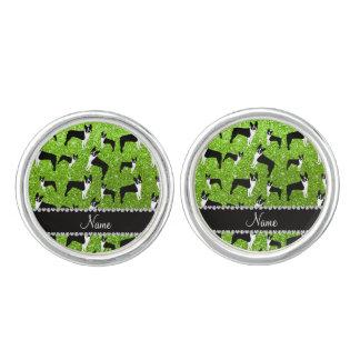 Custom name neon green glitter boston terrier cufflinks
