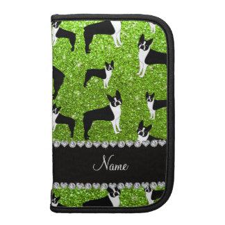 Custom name neon green glitter boston terrier planner
