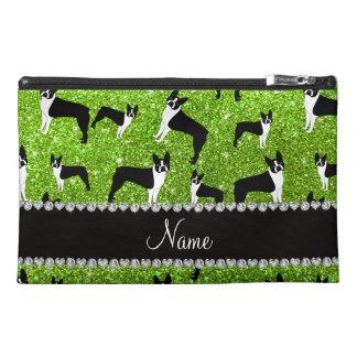 Custom name neon green glitter boston terrier travel accessories bags