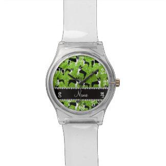 Custom name neon green glitter boston terrier wristwatches