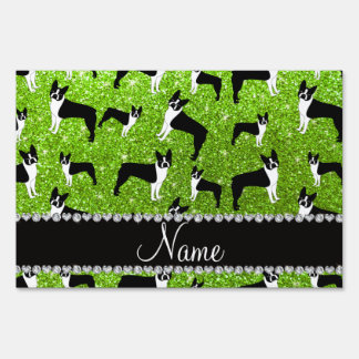 Custom name neon green glitter boston terrier lawn signs