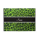 Custom name neon green glitter leopard print iPad mini cover