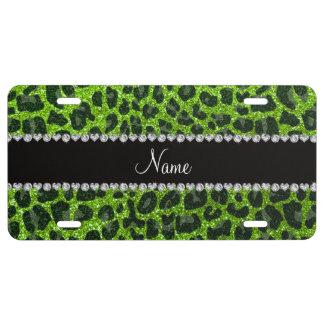 Custom name neon green glitter leopard print license plate