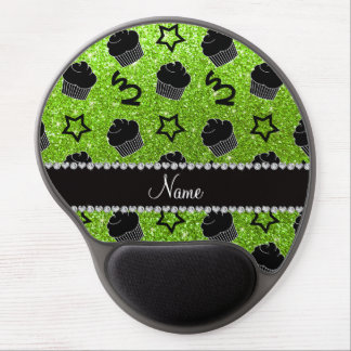 Custom name neon green glitter stars cupcakes gel mouse pad