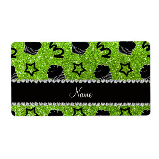 Custom name neon green glitter stars cupcakes shipping label