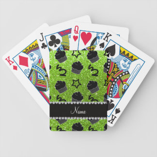 Custom name neon green glitter stars cupcakes bicycle playing cards