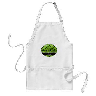 Custom name neon green glitter violins music notes adult apron