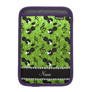 Custom name neon green glitter violins music notes sleeve for iPad mini