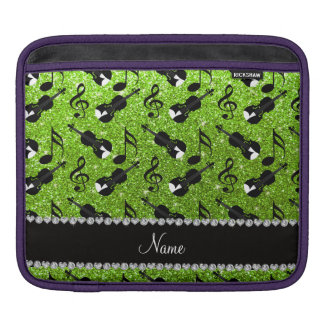 Custom name neon green glitter violins music notes iPad sleeves