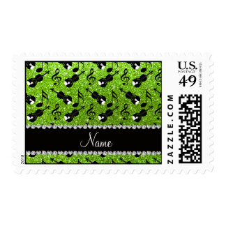 Custom name neon green glitter violins music notes postage