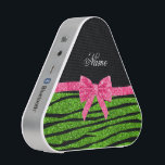 """Custom name neon green glitter zebra stripes bow bluetooth speaker<br><div class=""""desc"""">Chic, modern, trendy and girly Personalized custom name neon green glitter zebra stripes pattern (animal print) (faux glitter) with a beautiful pink glitter bow (not real glitter) ribbon personalized with your name gifts or monogram gifts or your initials. Zebra gift ideas for women. Ideal for birthdays, sweet 16, weddings and...</div>"""