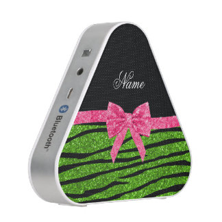 Custom name neon green glitter zebra stripes bow bluetooth speaker