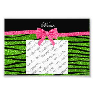 Custom name neon green glitter zebra stripes bow photographic print