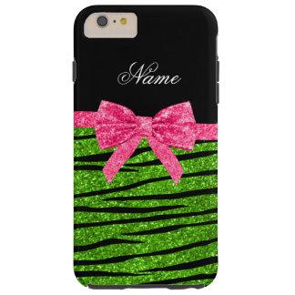 Custom name neon green glitter zebra stripes bow tough iPhone 6 plus case