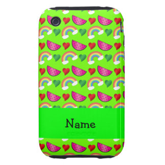 Custom name neon green watermelons rainbows hearts tough iPhone 3 cases