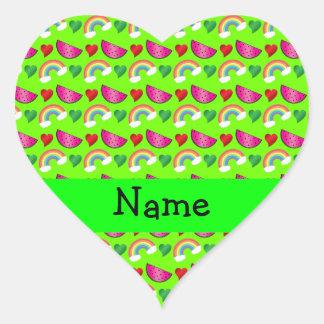 Custom name neon green watermelons rainbows hearts heart stickers