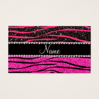 Custom name neon hot pink and black zebra stripes business card