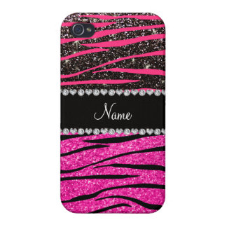 Custom name neon hot pink and black zebra stripes cover for iPhone 4