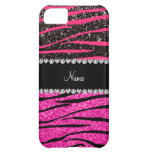 Custom name neon hot pink and black zebra stripes case for iPhone 5C