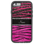 Custom name neon hot pink and black zebra stripes tough xtreme iPhone 6 case