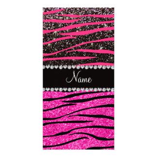 Custom name neon hot pink and black zebra stripes photo greeting card