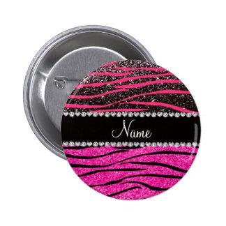 Custom name neon hot pink and black zebra stripes pinback button