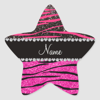 Custom name neon hot pink and black zebra stripes star sticker